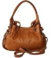 Sa-Lucca echt Leder Handtasche Damentasche 2508 Henkeltasche, Schultertasche, Tasche Ledertasche cognac MADE IN ITALY -