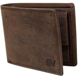 Schlanke Büffelleder-Geldbörse besonders bequem einfach und stabil Usedlook Vintage #Easycomfort (Iron) -