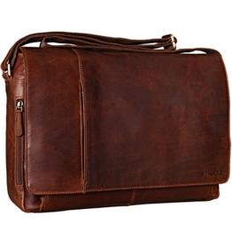STILORD Vintage Umhängetasche Studium Uni Büro Arbeit 15,6 Laptoptasche Büro Aktentasche echtes Büffel Leder dunkelbraun -