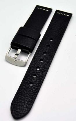 Uhrenarmband Ravenna XL extra lang schwarz 22mm Kalbleder 3892 -
