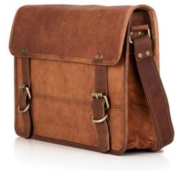 Umhängetasche BERLINER BAGS York Messenger Aktentasche Arbeitstasche Bürotasche Qualität 13,5 zoll Laptoptasche Ledertasche Vintage Collegetasche Uni Braun Herren Damen Mittel M -