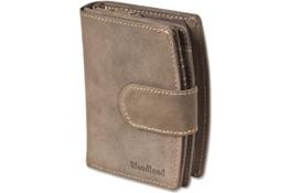 Woodland® - Kompakte Luxus-Damenbörse mit besonders vielen Kreditkartenfächer aus naturbelassenem Büffelleder in Dunkelbraun/Taupe, Dunkelbraun -